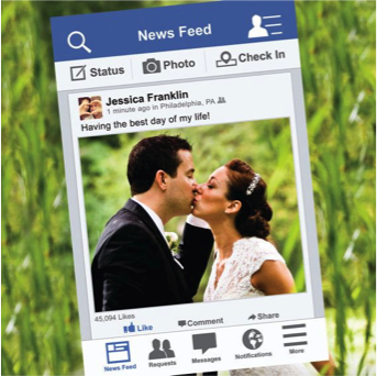 Stephen von Speigel Hauer's Instagram Idea for Kids Entertainers: An Instagram Frame Being Used by the Bride and Groom for a Wedding Photoshoot