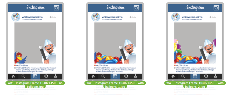 Stephen von Speigel Hauer's Instagram Idea for Kids Entertainers: Three Instagram Frame Designs